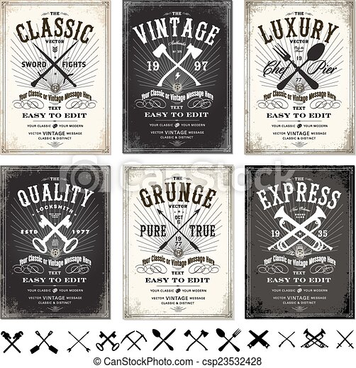 Vector retro poster template set. Easy to edit! set of vintage ...