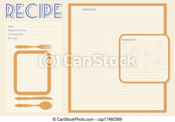 Vector retro recipe card layout - csp17460369