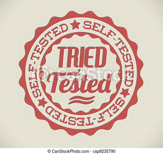 Vector retro self tried and tested stamp - csp9235790