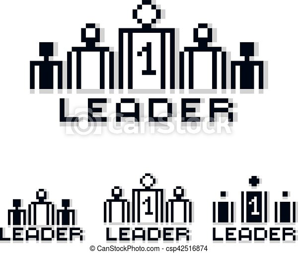 vector retro sign made in pixel art style leadership and teamwork