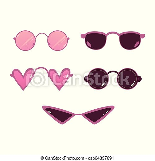 Vector Retro Sunglasses Photo Booth Props Icon Vector Heart Shape Circle Sunglasses Set Photo Booth Prop Selfie Photo