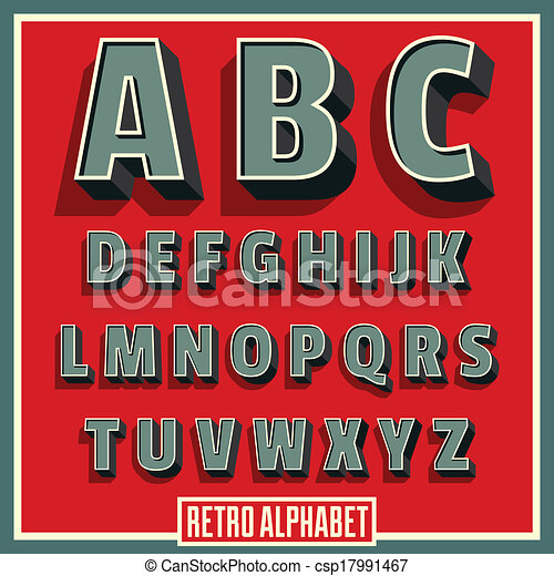 Vector retro type font alphabet - csp17991467