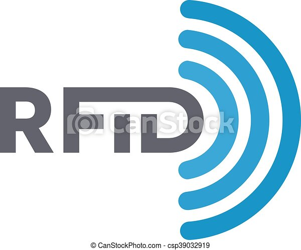 Vector RFID tag icon or logo. Radio-frequency identification symbol - csp39032919