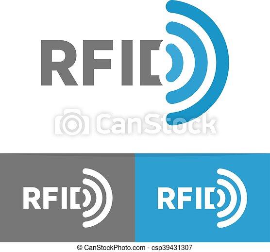 Vector RFID tag icon or logo. Radio-frequency identification symbol - csp39431307