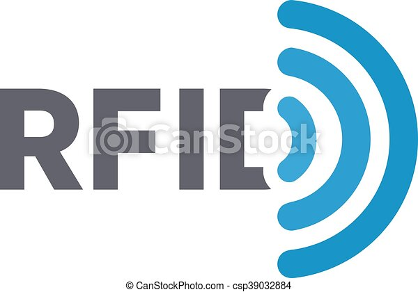 Vector RFID tag logo. Radio-frequency identification symbol or icon - csp39032884
