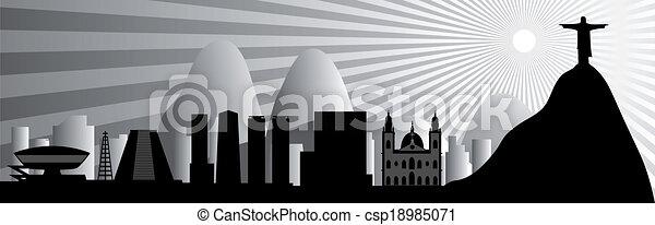 vector Rio de Janeiro skyline - csp18985071