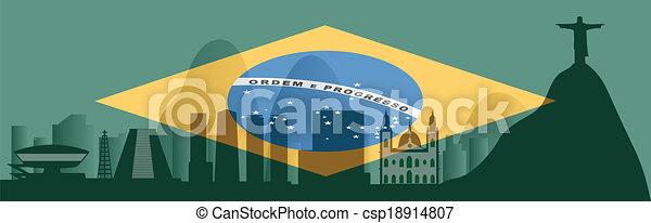 vector Rio de Janeiro skyline - csp18914807