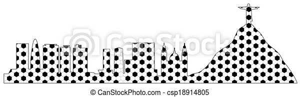 vector Rio skyline ball texture - csp18914805