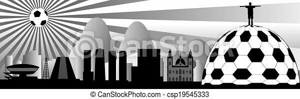 vector Rio skyline with ball - csp19545333
