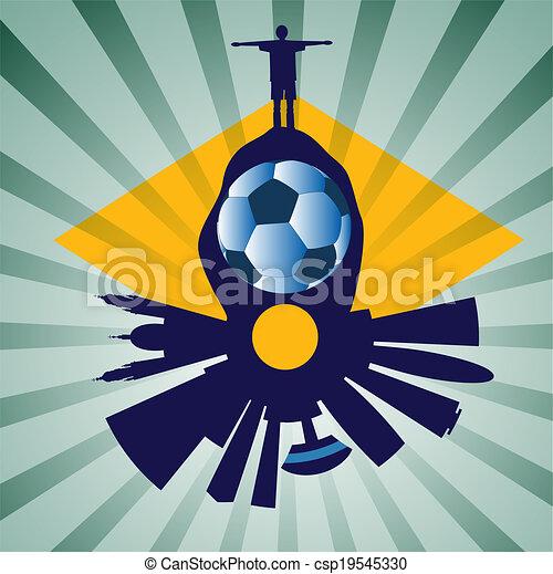 vector Rio skyline with football pl - csp19545330