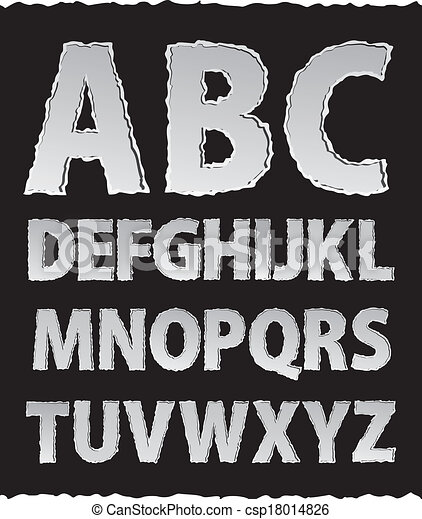 Vector ripped torn paper alphabet