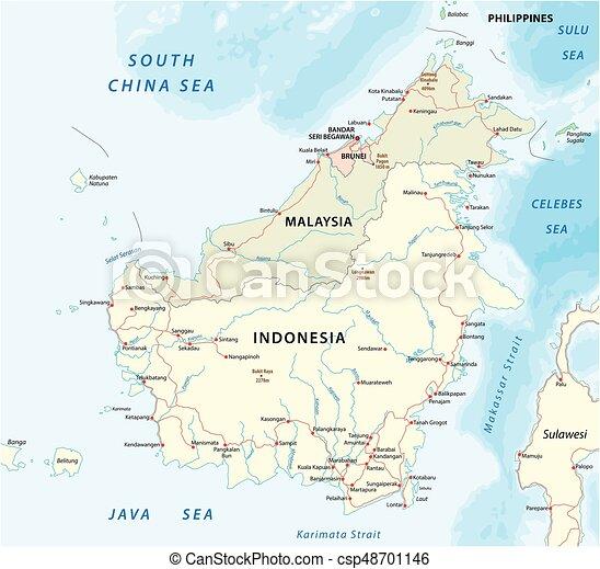 Vector road map of island borneo kalimantan 2 Vector road eps