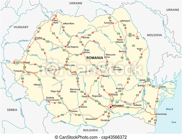 Vector road map of the eastern european state romania vectors