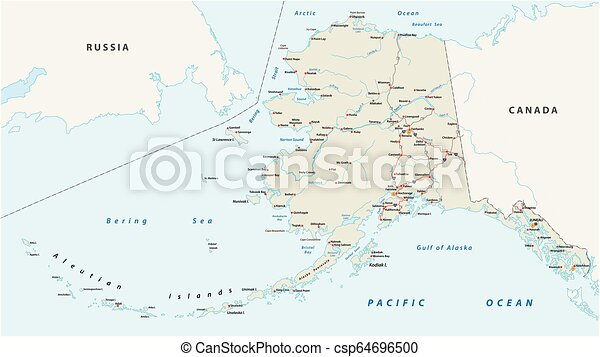 Vector road map of the North American state of Alaska, United States of  America