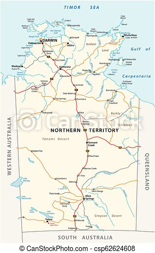 Northern Australia Map.Vector Road Map Of The Northern Territory Australia