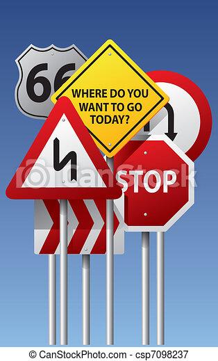 Vector road signs - csp7098237