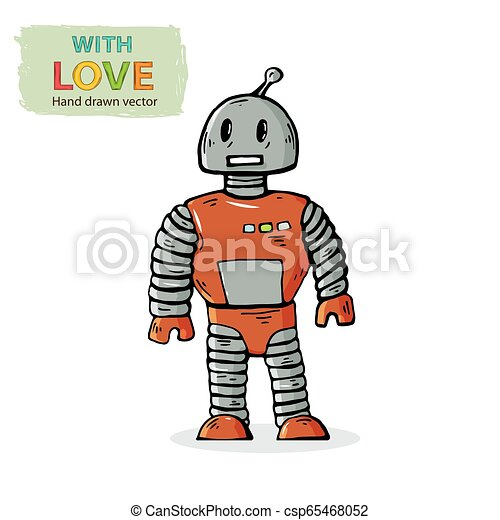 Vector Robot Kid Toy Hand Draw In Doodle Style Isolated On A White Background With Shadow Children Toy Vector Character Canstock
