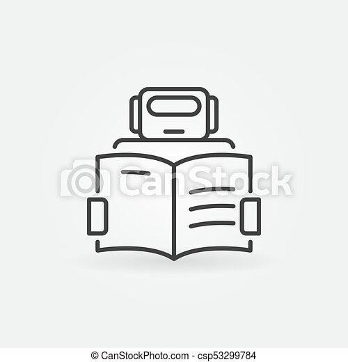 Robot leyendo un icono de libro - vector máquina de aprendizaje signo - csp53299784
