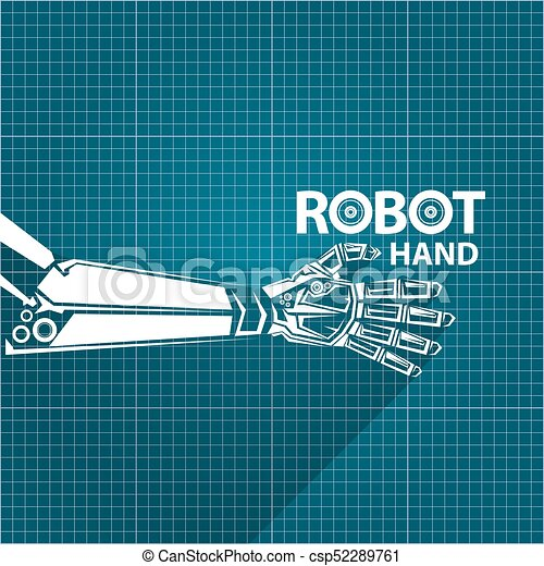 Vector robotic arm symbol on blueprint paper background clip vector robotic arm symbol on blueprint paper background robot hand technology background design malvernweather Gallery