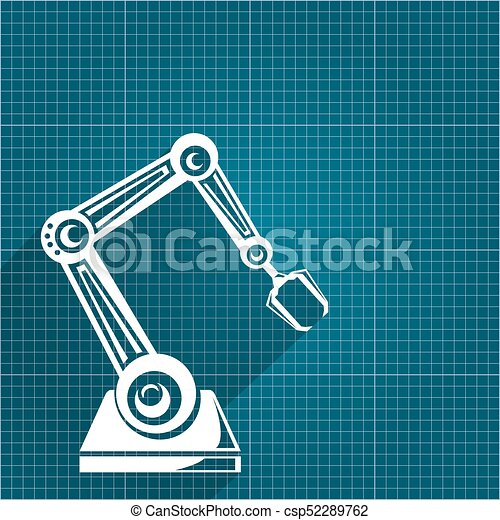 Vector robotic arm symbol on blueprint paper background clip art vector robotic arm symbol on blueprint paper background robot hand technology background design malvernweather Gallery