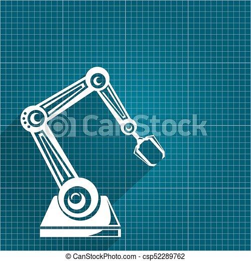 Vector robotic arm symbol on blueprint paper background clip art vector robotic arm symbol on blueprint paper background robot hand technology background design malvernweather Choice Image