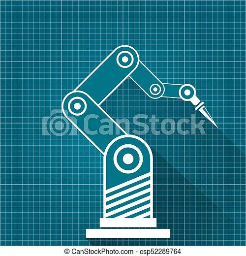 Vector robotic arm symbol on blueprint paper background clip art vector robotic arm symbol on blueprint paper background robot hand technology background design malvernweather Gallery