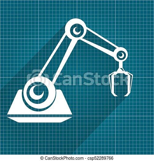 Vector robotic arm symbol on blueprint paper background clip vector robotic arm symbol on blueprint paper background robot hand technology background design malvernweather Choice Image