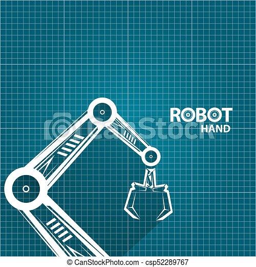 Vector robotic arm symbol on blueprint paper background clip art vector robotic arm symbol on blueprint paper background robot hand technology background design malvernweather Images