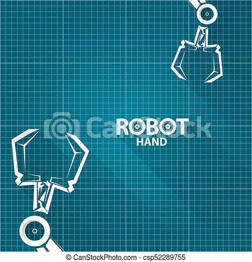 Vector robotic arm symbol on blueprint paper background clipart vector robotic arm symbol on blueprint paper background robot hand technology background design malvernweather Gallery