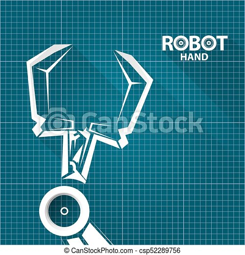 Vector robotic arm symbol on blueprint paper background robot hand vector robotic arm symbol on blueprint paper background robot hand technology background design template malvernweather Images