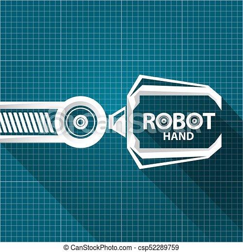 Vector robotic arm symbol on blueprint paper background clipart vector robotic arm symbol on blueprint paper background robot hand technology background design malvernweather Gallery