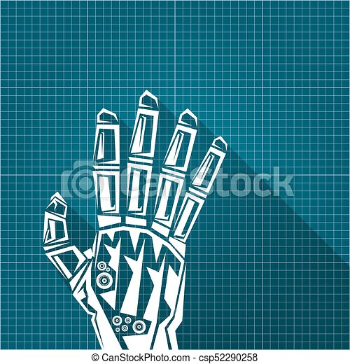 Vector robotic arm symbol on blueprint paper background clipart vector robotic arm symbol on blueprint paper background robot hand technology background design malvernweather Choice Image