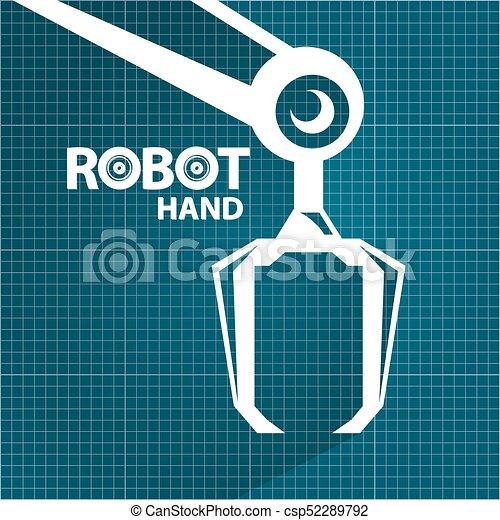 Vector robotic arm symbol on blueprint paper background eps vector robotic arm symbol on blueprint paper background robot hand technology background design malvernweather Gallery