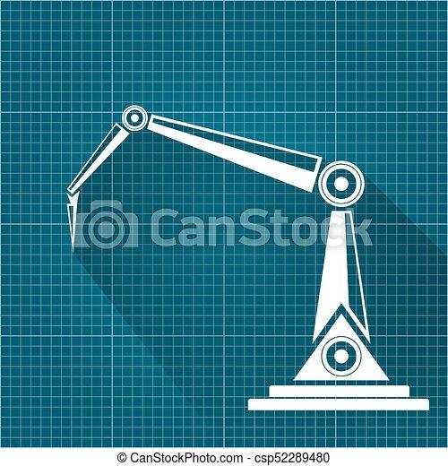 Vector robotic arm symbol on blueprint paper background vector vector robotic arm symbol on blueprint paper background robot hand technology background design malvernweather Gallery