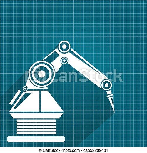 Vector robotic arm symbol on blueprint paper background vector vector robotic arm symbol on blueprint paper background robot hand technology background design malvernweather Images