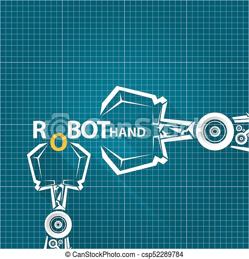 Vector robotic arm symbol on blueprint paper background vector vector robotic arm symbol on blueprint paper background robot hand technology background design malvernweather Images