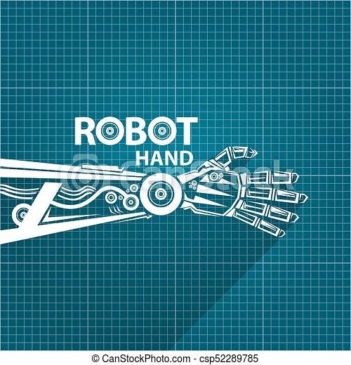 Vector robotic arm symbol on blueprint paper background vector vector robotic arm symbol on blueprint paper background robot hand technology background design malvernweather Choice Image