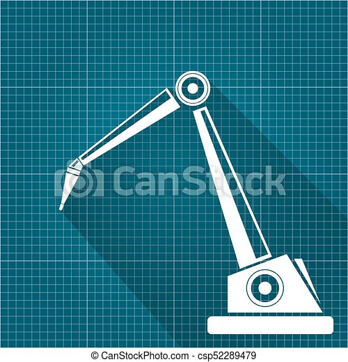 Vector robotic arm symbol on blueprint paper background vectors vector robotic arm symbol on blueprint paper background robot hand technology background design malvernweather Images