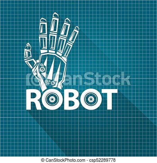 Vector robotic arm symbol on blueprint paper background vector robotic arm symbol on blueprint paper background robot hand technology background design malvernweather Choice Image
