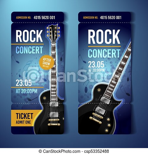 Vector rock festival ticket design template with guitar.... vector ...