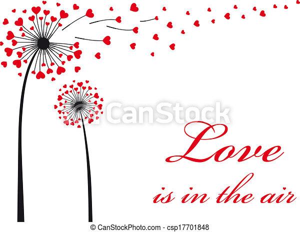 Dandelion con corazones rojos, vector - csp17701848