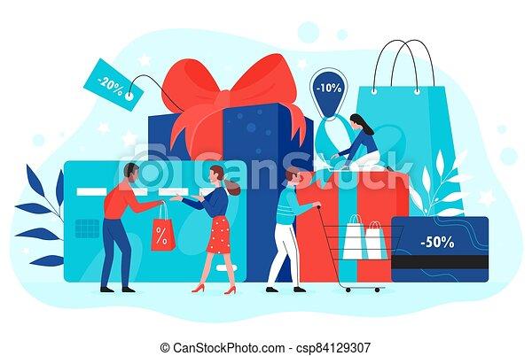 vector, rojo, vale, caricatura, promoción, regalos, concepto, plano, cupón, ilustración, comprador, compras, utilizar, descuento, comprar, tarjeta, regalo, gente, cinta, tienda - csp84129307