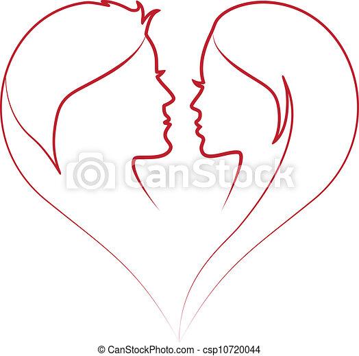 vector, rood hart, gezichten - csp10720044