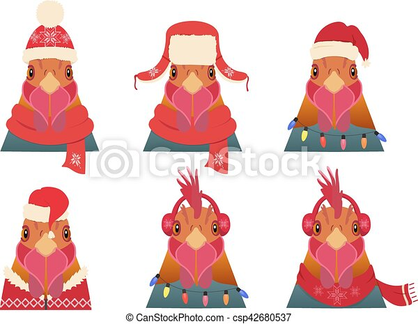 Vector Rooster Head set. Cartoon style, in winter, christmas clothing - csp42680537