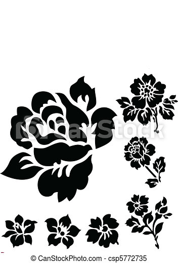 Vector rose and floral icons set of vector floral clipart vector rose and floral icons voltagebd Choice Image