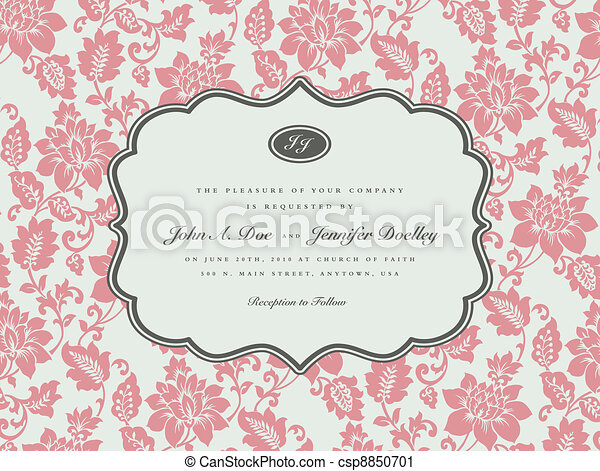 Vector Rose Background and Ornate Frame - csp8850701