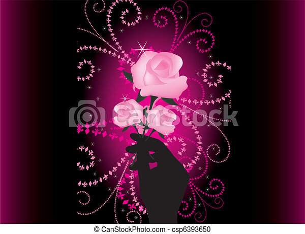 vector roses in hand - csp6393650