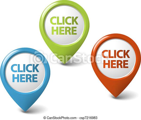 Vector Round 3D click here pointer - csp7216983