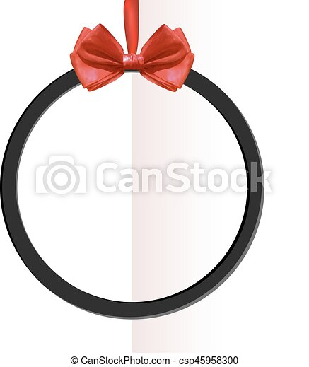 VECTOR round black frame with bow on folded paper background. - csp45958300