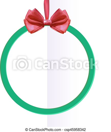 VECTOR round black frame with silk bow on folded paper . - csp45958342